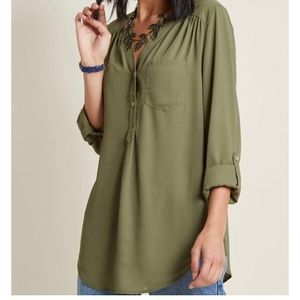 ModCloth Pam Breeze-ly Blouse in Olive 4X